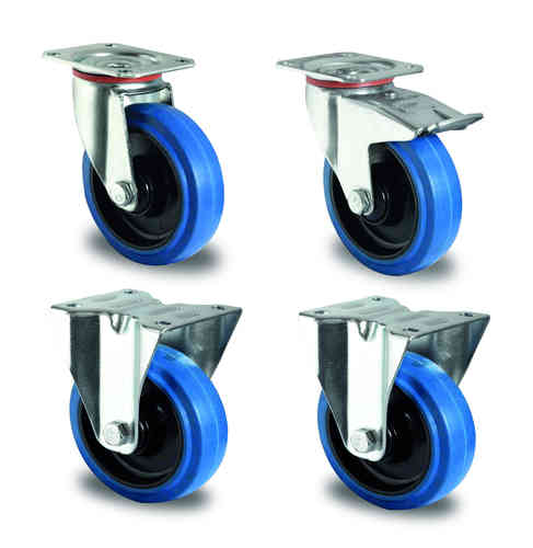 Wheel set 125 mm blue rubber (additonal costs)