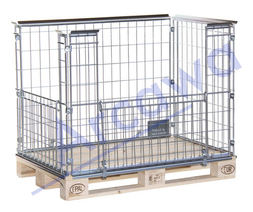 1220x820xH870 Pallet Cage with 2 opening flaps